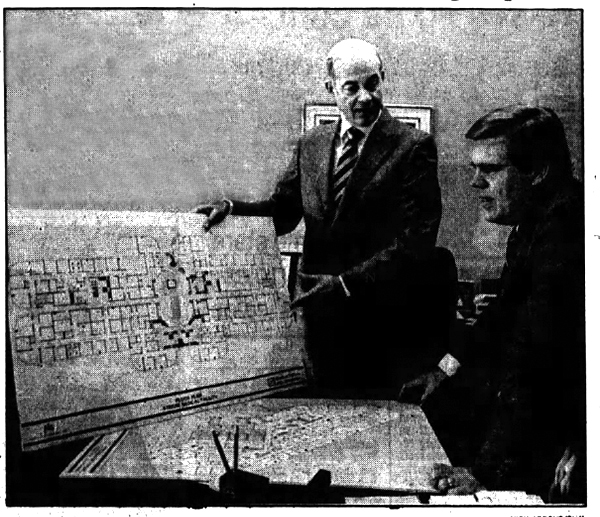 Doctors Gaston and Carlson reviewing clinic plans, September 29, 1985