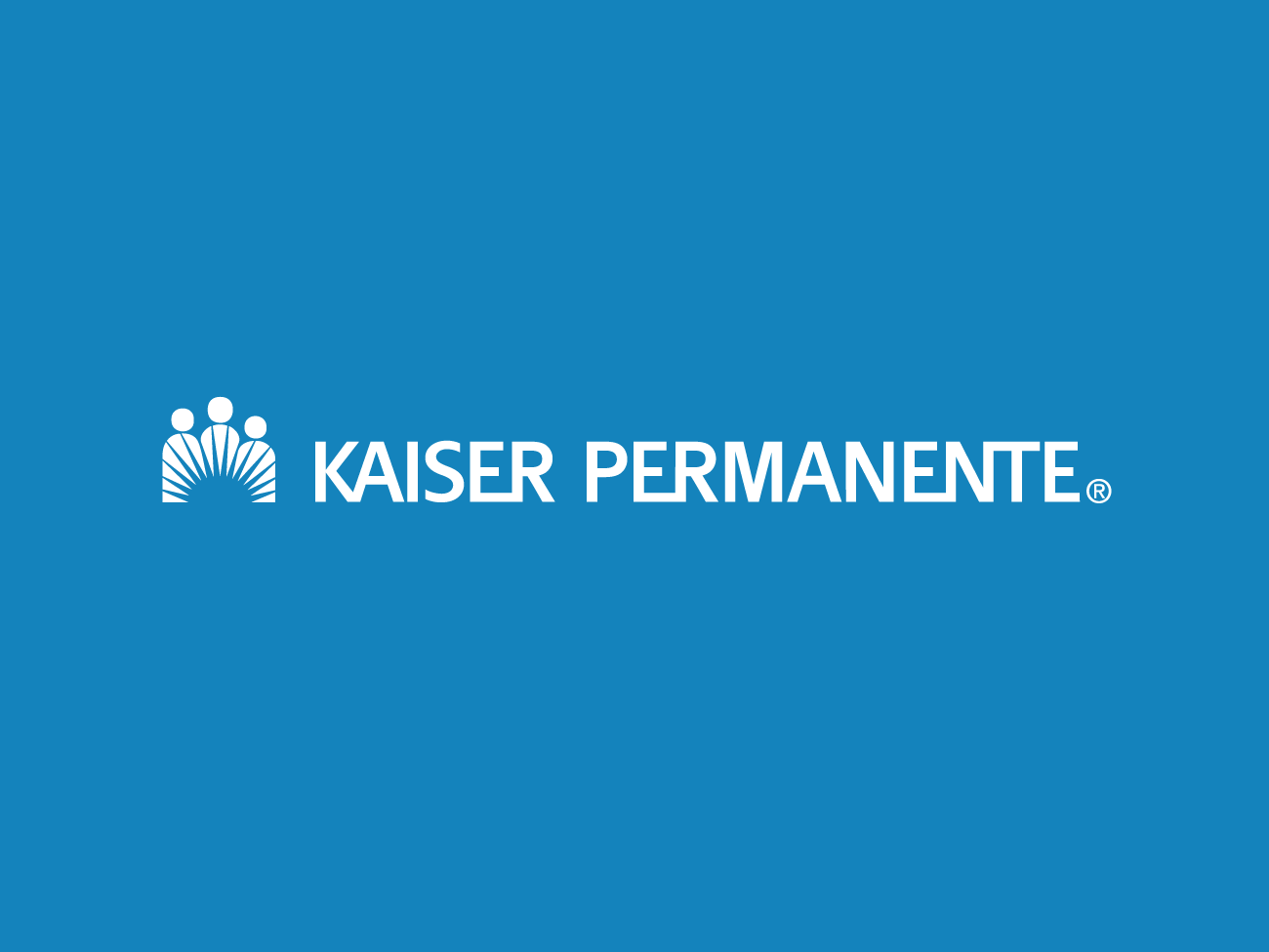 White Kaiser Permanente logo on blue background.