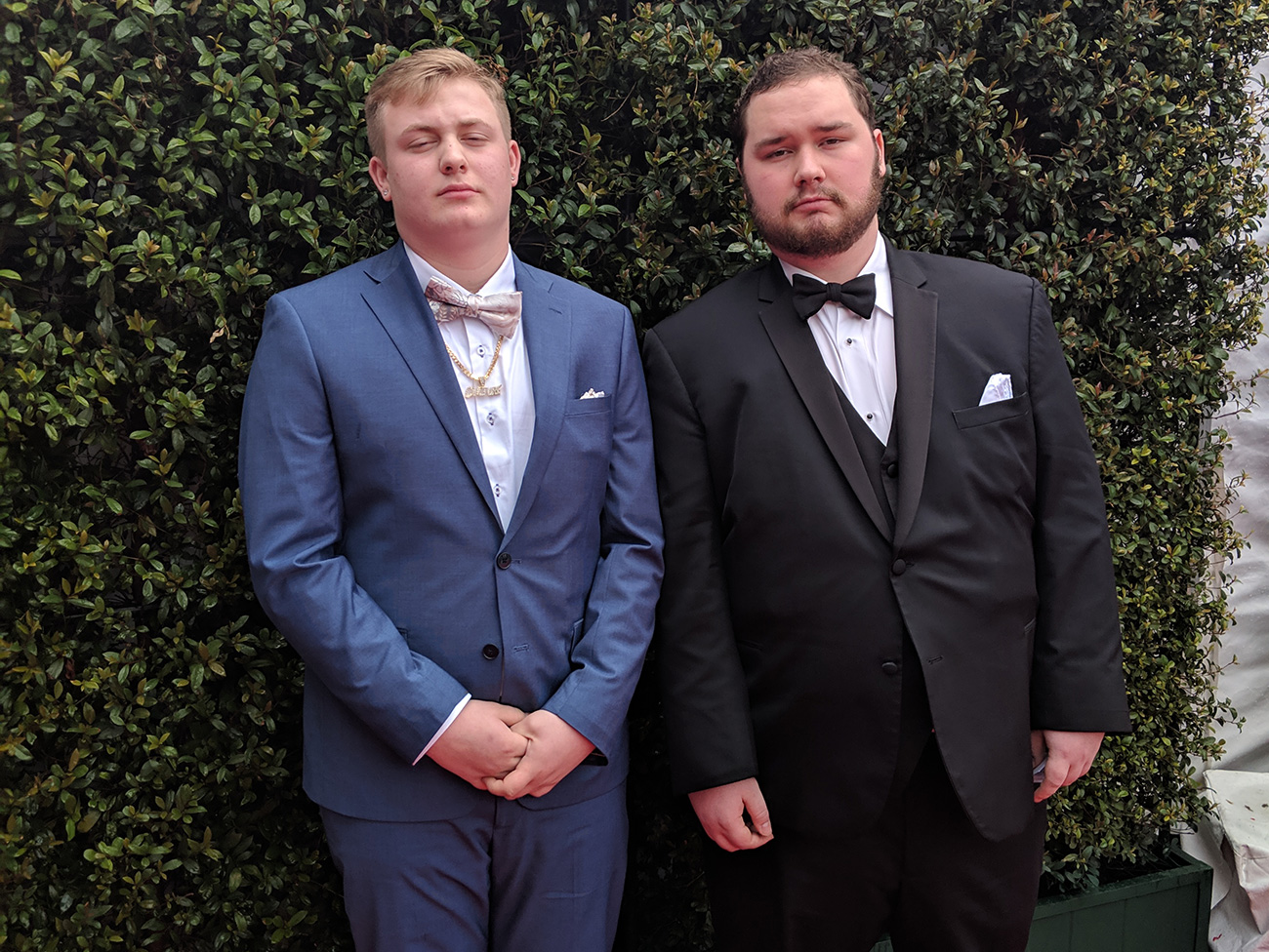 Drew McMains and his songwriting partner, David Bond, on the red carpet at the 2019 Grammy Awards
