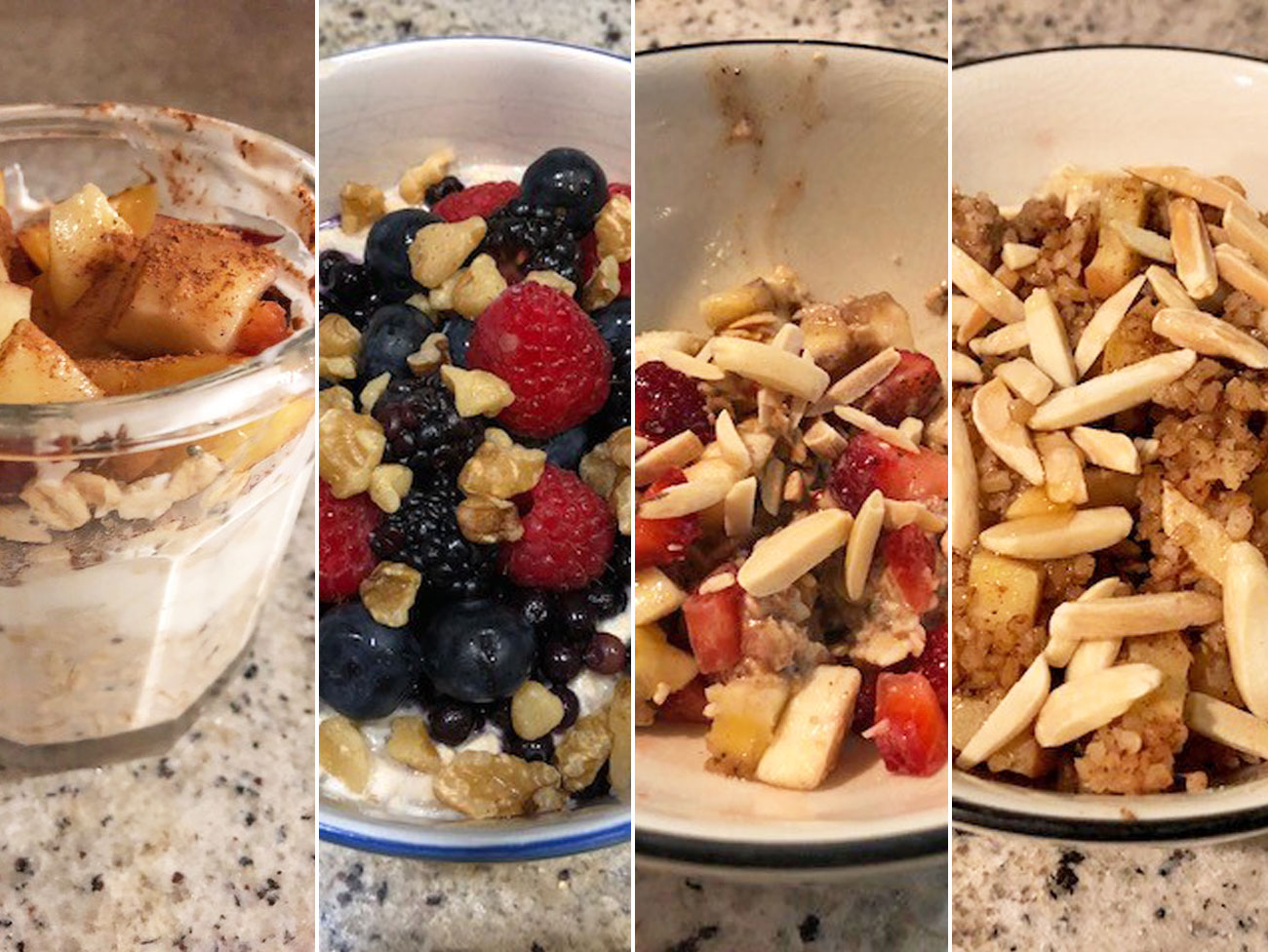 4 bowls with different versions of overnight oats: peach cobbler, mixed berries with banana and walnuts, slivered almonds with strawberries, and apples with bulgur