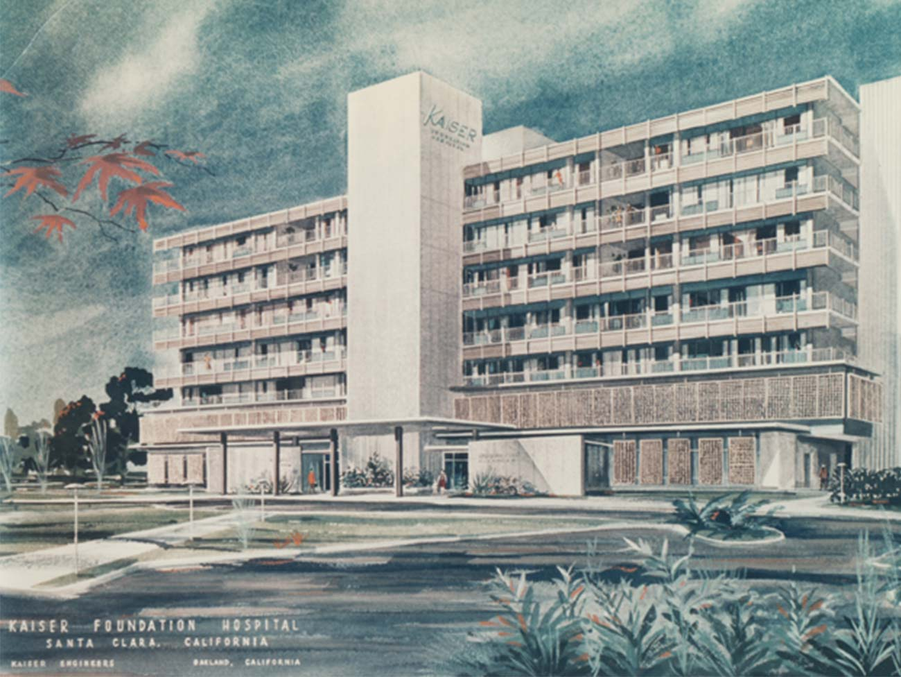Architectural drawing by Kaiser Engineers, new Santa Clara Medical Center, 1963