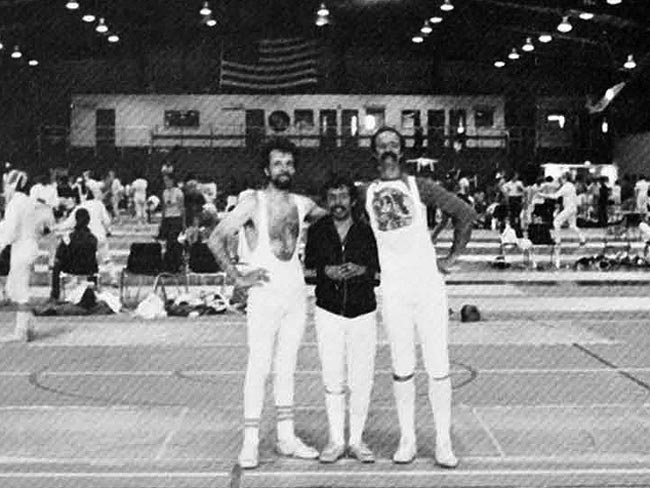 Joe Rios posing with fellow U.S. Olympic Fencing Team members in 1980