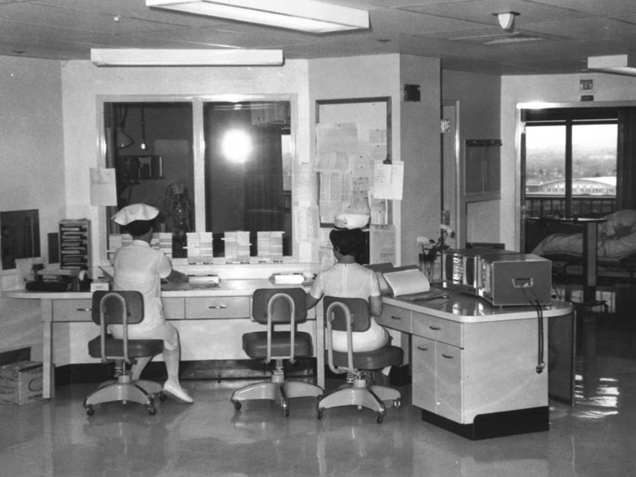 Another view of the nurses' station in the Santa Clara Medical Center, 1964.