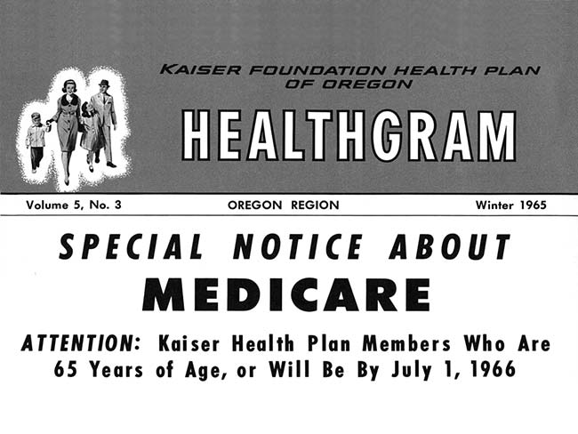 1965 clipping from Kaiser Permanante newsletter 'Healthgram' with the headline 'Special notice about Medicare'