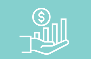 Hand holding a bar chart and dollar sign on a aqua colored background
