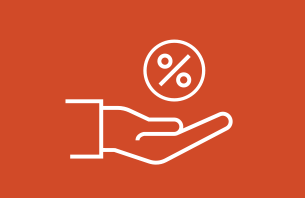 Hand holding a percent sign on an orange background