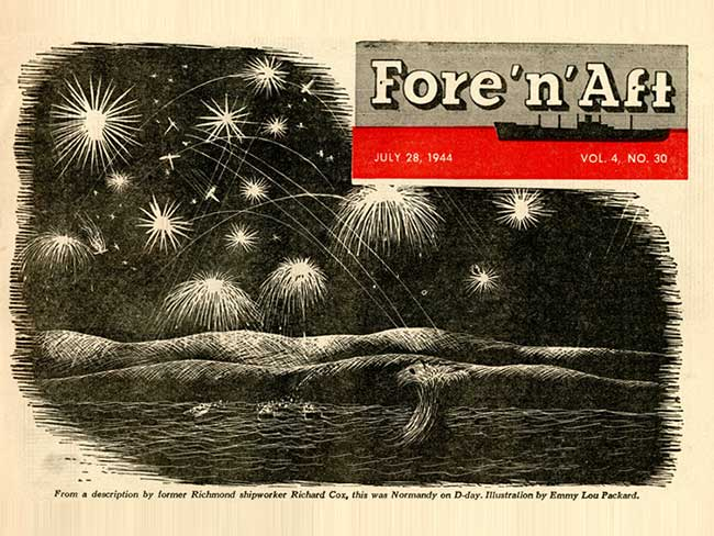 1944 illustration of Normandy on D-Day with bursts of light in the sky and boats approaching the beach at night.
