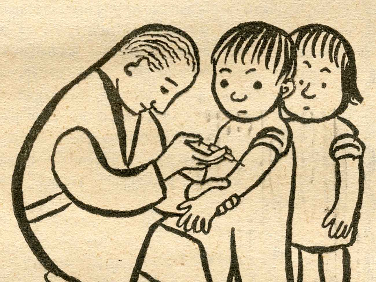 Illustration of a doctor injecting a hypodermic needle into the arm of a small child