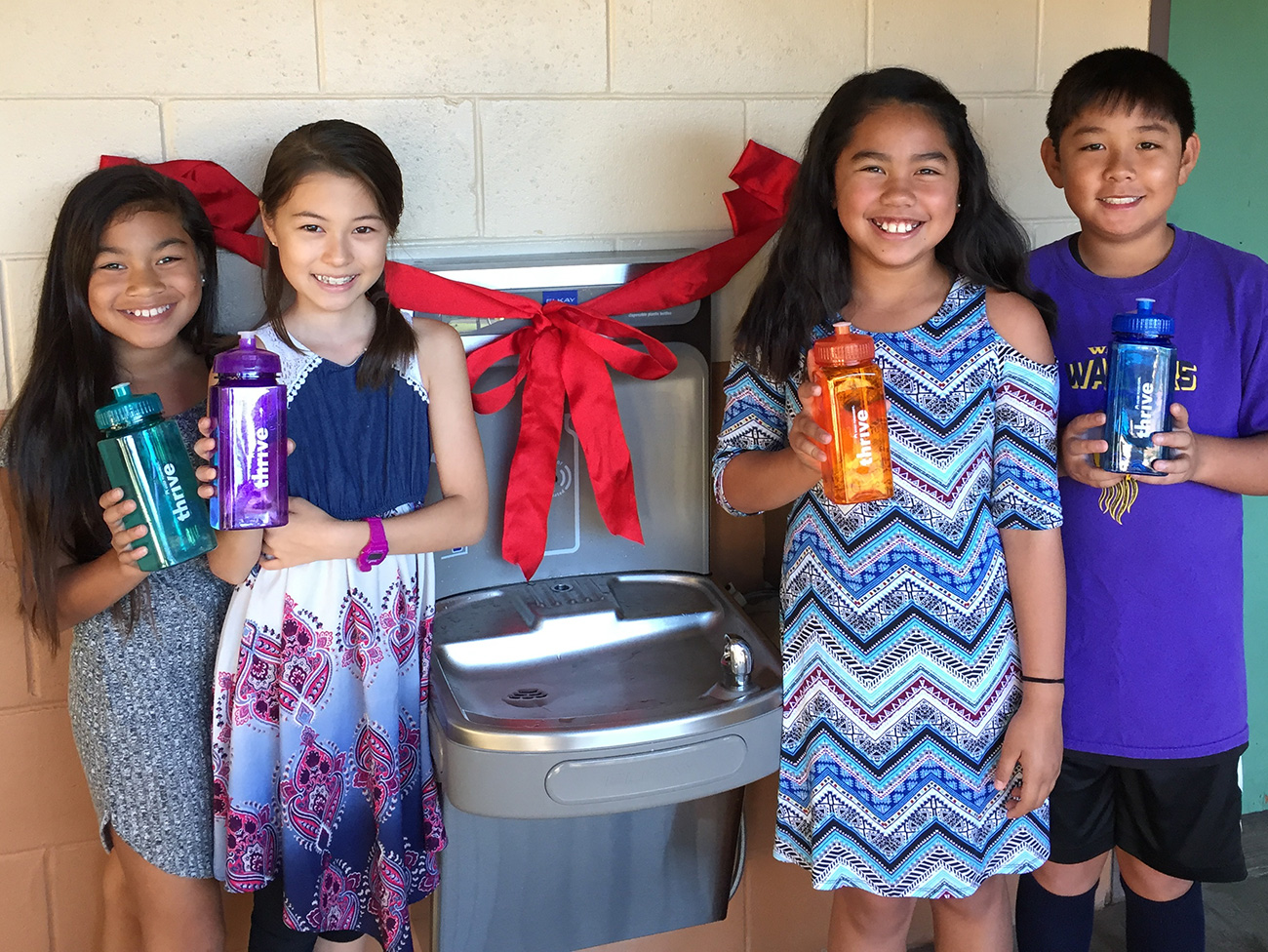 Students at Waihee Elementary School enjoy new water bottle filling stations.