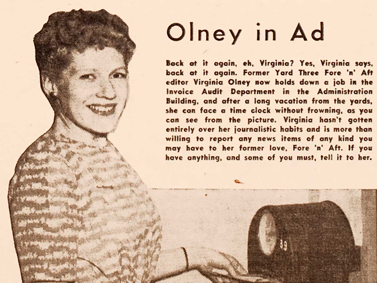 Black and white magazine clipping of Fore 'n' Aft journalist/illustrator Virigina Olney