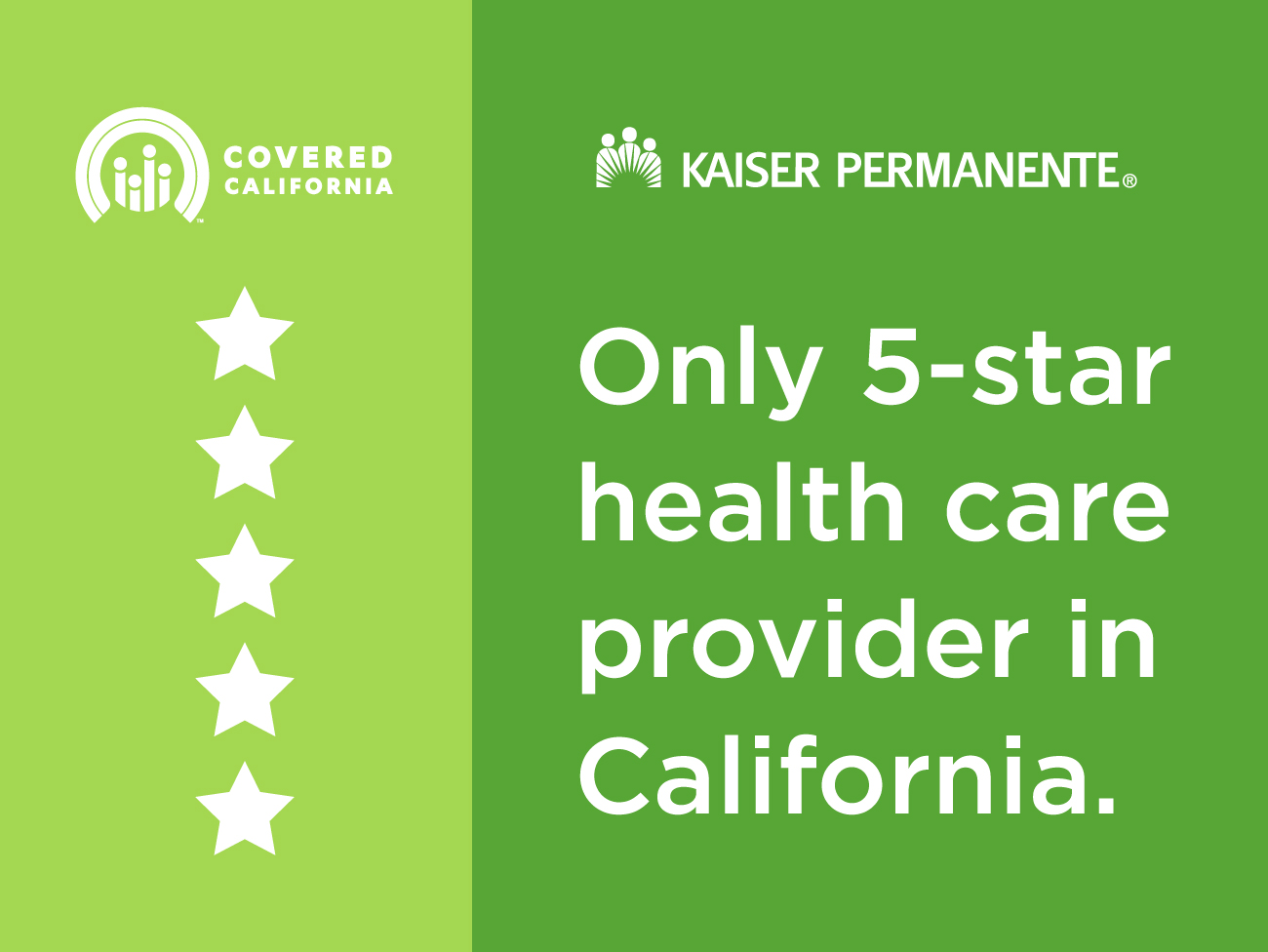 Covered California and Kaiser Permanente logos with 5 stars and text 'Only 5-star health care provider in California.'