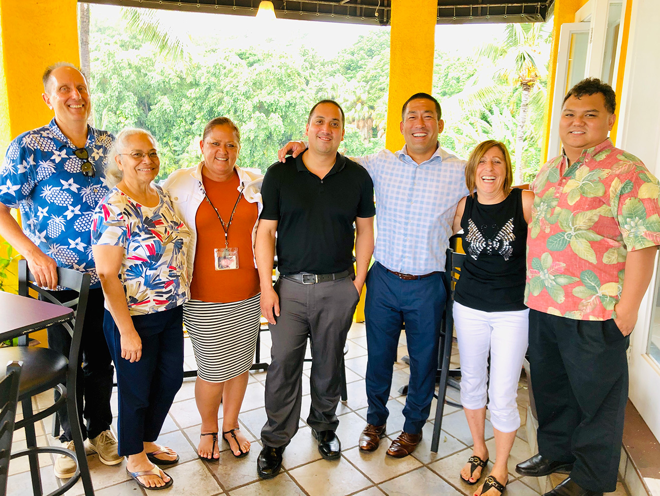 (Left to Right): Lee Steinmetz, Fran Becker, Nani Sadora, Ka'aina Hull, Kauai Mayor Derek Kawakami, Bev Brody, and Mike Dahilig.