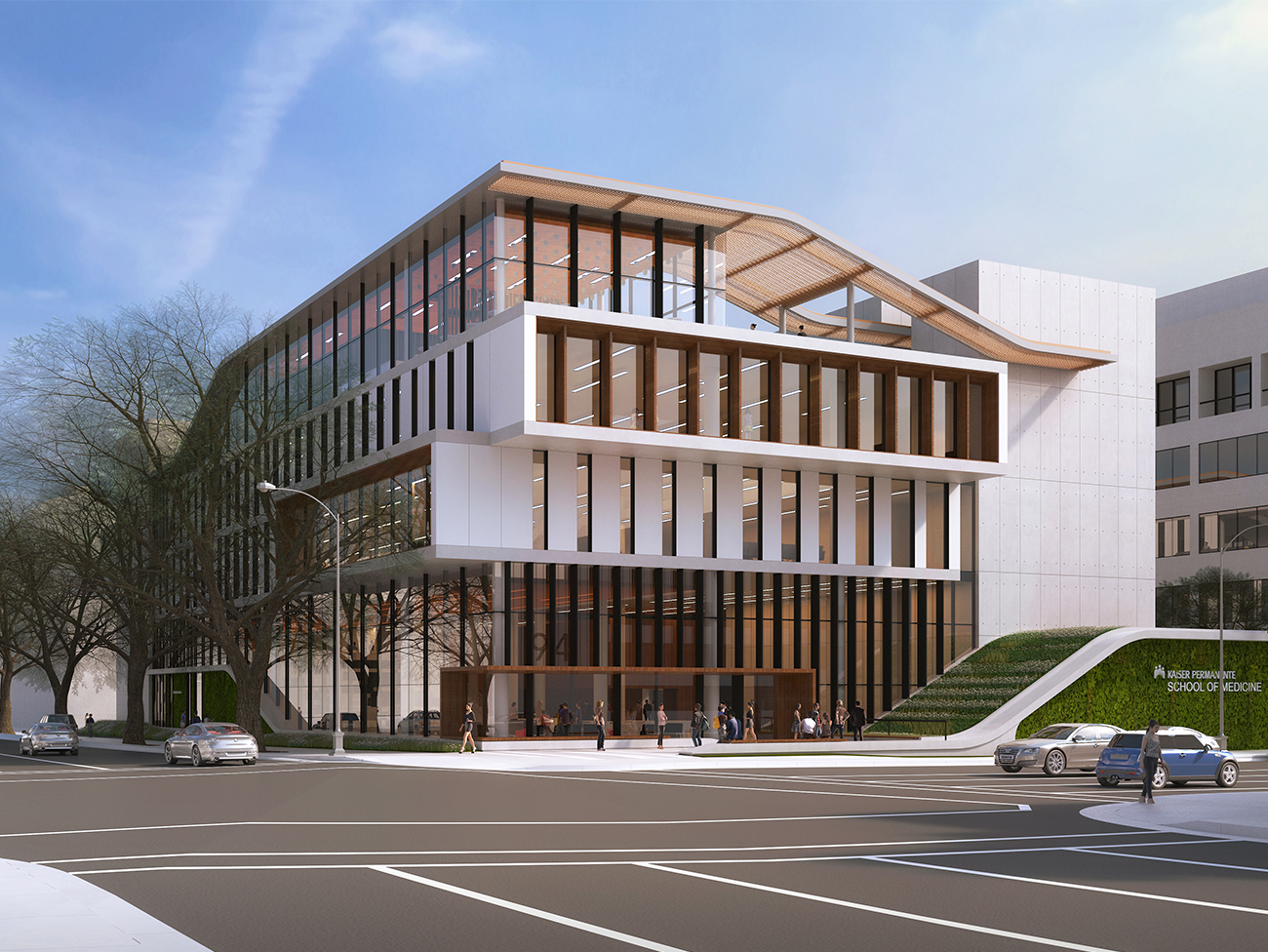 Rendering of the Kaiser Permanente Bernard J. Tyson School of Medicine.