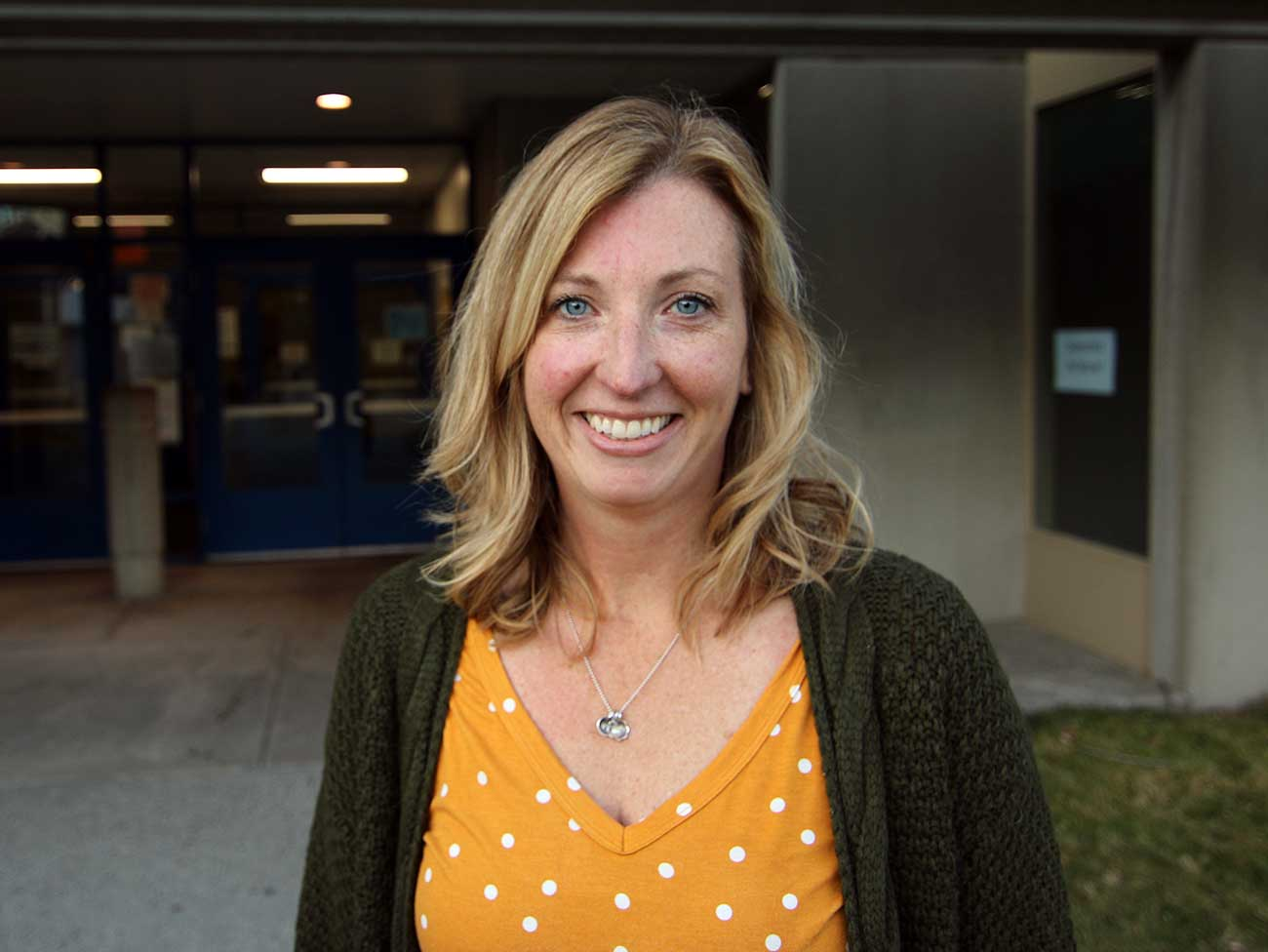 Smiling Rachel Sherwood, principal of Bemiss Elementary School in Spokane, Washington.