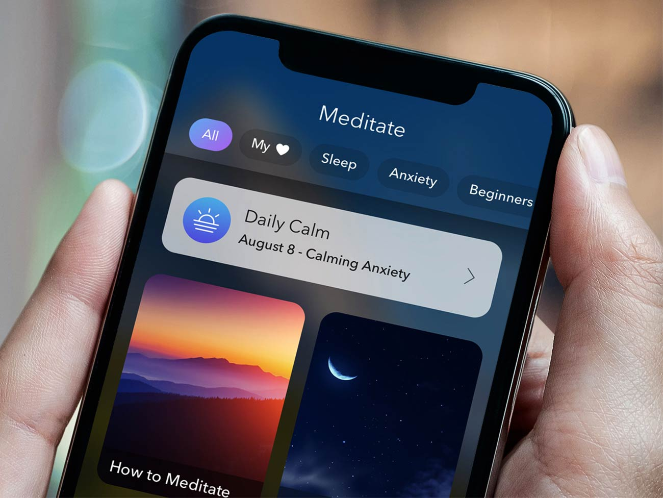 Calm app features on a mobile phone