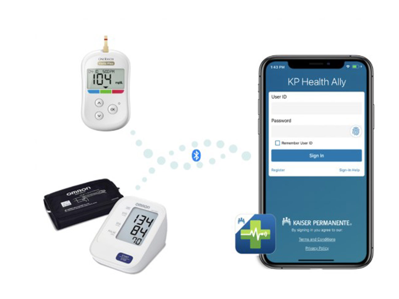 Electronic monitors and a phone with the KP Health Ally app