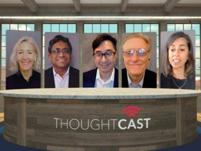 portrait photos of 3 men and 2 women above the word ThoughtCast
