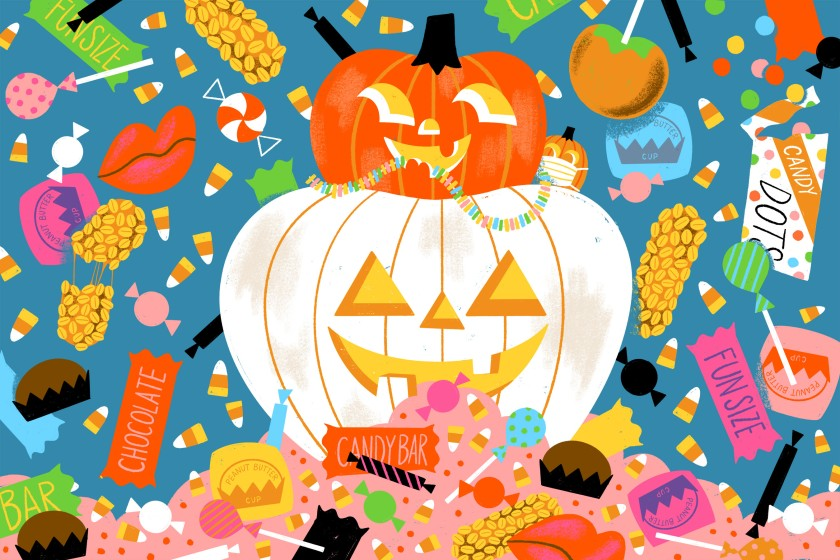 Illustration of two jack-o'-lanterns surrounded by candy.
