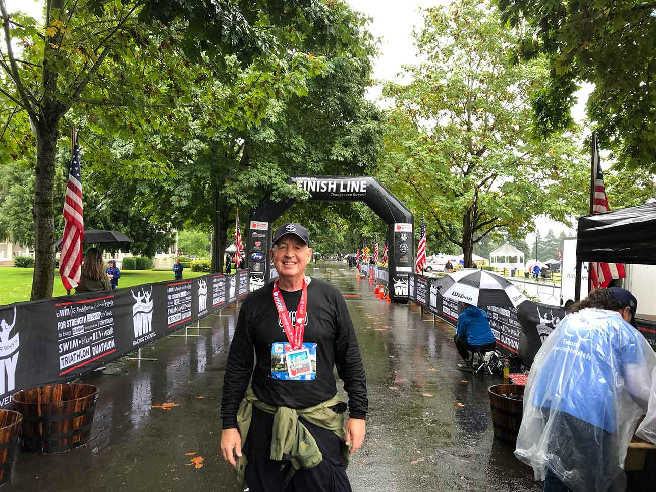 Mike White at the finish line after completing a half-marathon