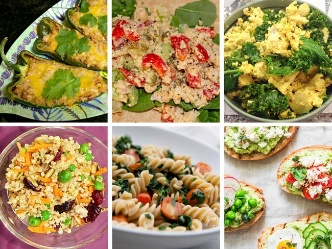 Collage of images featuring bean poblanos, chickpea salad, tofu kale scramble, curry quinoa, pasta, and avocado toast.